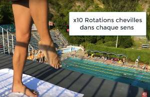 echauffement natation chevilles